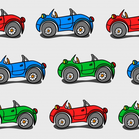 Simple seamless background with colored cartoon cars