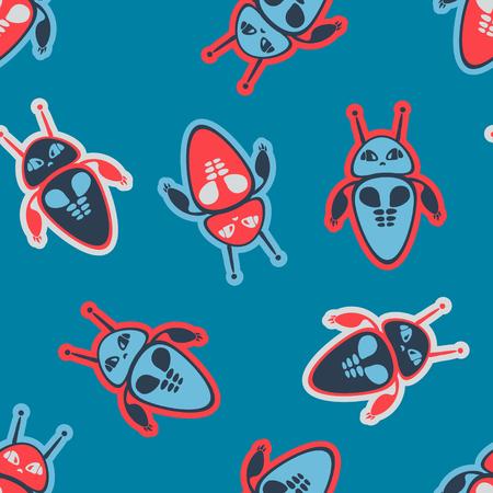 Space robot seamless pattern. Children vector texture.