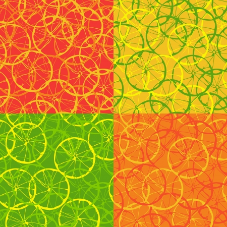 Four options seamless background with citrus fruits in the section