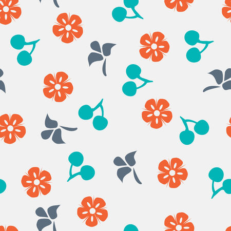 Summer vector seamless pattern with cherry, flower and leaf  Иллюстрация