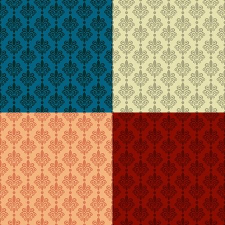 Four color options seamless vector damask background
