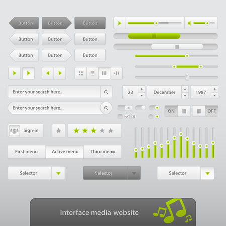 The interface for your media web site in gray color.