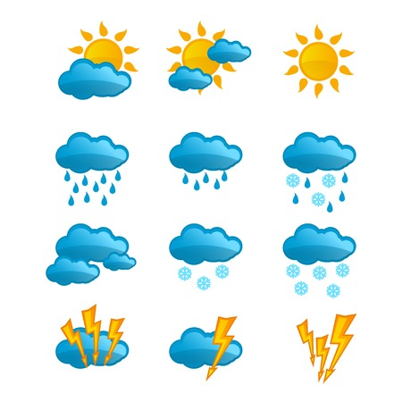 Set of bright weather icons for your website.