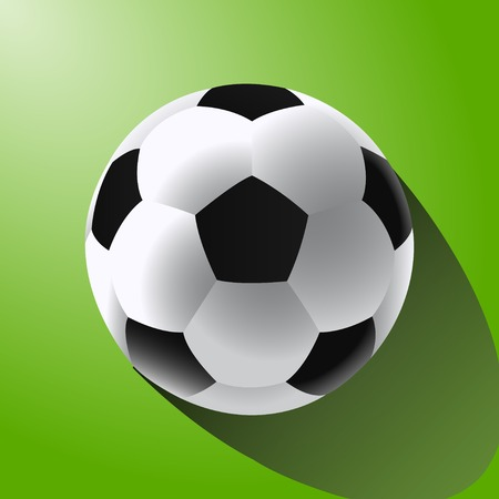 Soccer ball or football ball on green field. Illustration