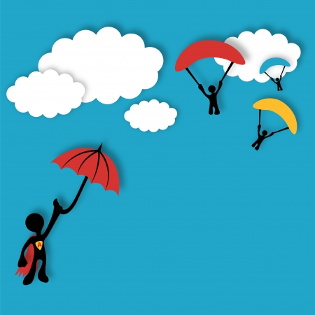 hero flying on umbrella and next fly skydivers.