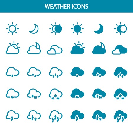 Set of bright weather icons for your website  Иллюстрация