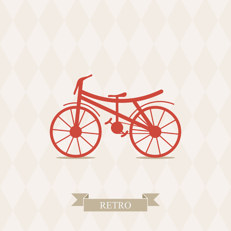 Illustration of bicycle  Vector card with bicycle  Simple illustration of bicycle  Vintage bicycle