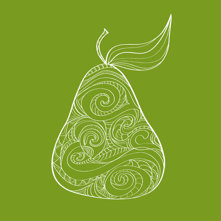 Doodle hand drawn pear pattern. Sketched abstract food illustration. Иллюстрация