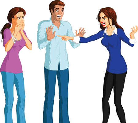 Cartoon illustration of angry brunette woman accusing shocked young brunette couple, white background. Illustration