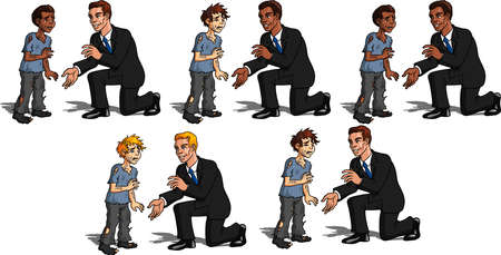 Vector illustration of a charitable man helping a poor child.
