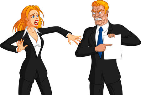 Vector illustration of an angry blond boss man getting furious at a freaked out blonde female employee. Ilustração
