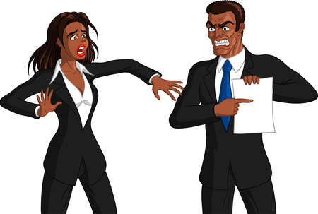 Vector illustration of an angry black boss man getting furious at a freaked out black female employee.