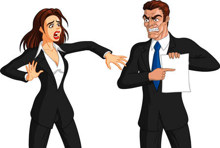 Vector illustration of an angry Caucasian  boss man getting furious at a freaked out Caucasian female employee.