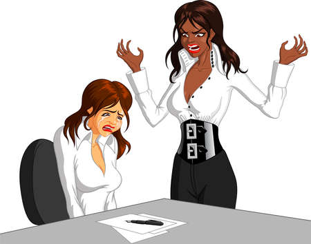 Vector illustration of a furious black female executive shouting at a female Caucasian employee and making her cry.