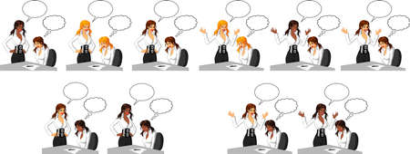 Vector illustration of a furious Caucasian female executive shouting at a female employee and making her cry. With speech bubble. Illustration