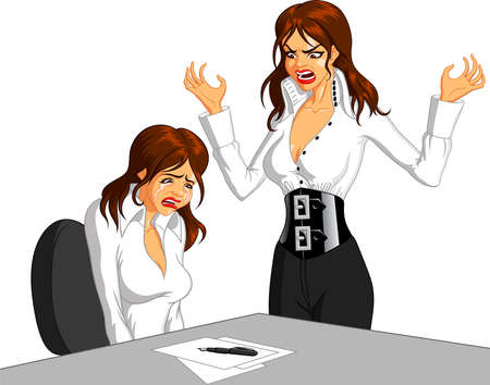 Vector illustration of a furious Caucasian female executive shouting at a Caucasian female employee and making her cry.