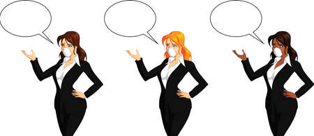 Vector illustration of a joyful businesswoman with speech bubble. Ilustração