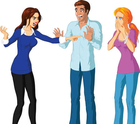 Vector illustration of an attractive brunette woman accusing a blonde woman. Illustration