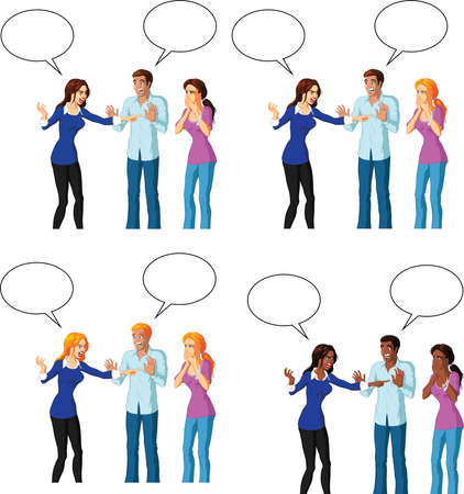 Vector illustration of an attractive woman accusing a woman, with speech bubbles. Illustration