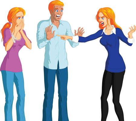 Cartoon illustration of angry blonde woman accusing shocked young blonde couple, white background.