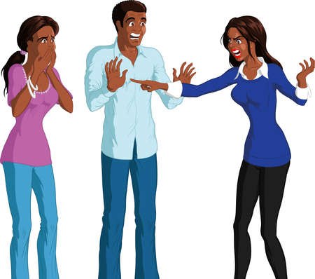 Vector illustration of angry black woman accusing shocked young black couple, white background.