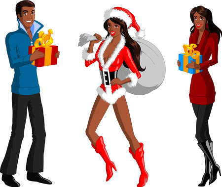 Vector illustration of a black woman dressed as Santa is holding a present pouch and a couple is holding present boxes.