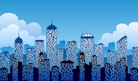 Vector illustration of a cityscape background vector with buildings and clouds.