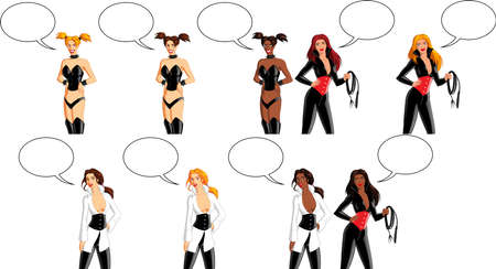 Vector illustration of women wearing sexy fetish outfits. Ilustração