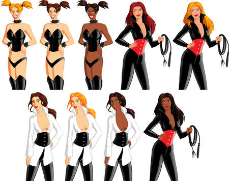 Vector illustration of women wearing sexy fetish outfits with speech bubbles.