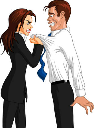 Vector illustration of a furious executive Caucasian businesswoman grabbing the collar of a freaked out Caucasian male employee.