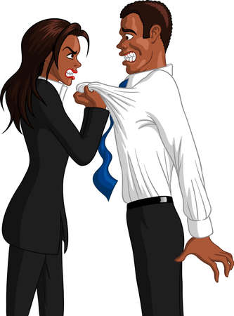 Vector illustration of a furious executive black businesswoman grabbing the collar of a freaked out black male employee.