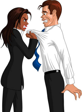 Vector illustration of a furious executive black businesswoman grabbing the collar of a freaked out Caucasian male employee. Ilustração