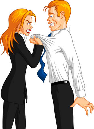 Vector illustration of a furious executive blonde businesswoman grabbing the collar of a freaked out blond male employee.