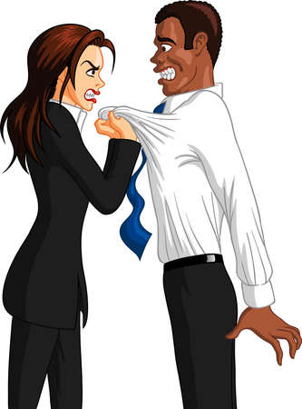 Vector illustration of a furious executive Caucasian businesswoman grabbing the collar of a freaked out black male employee.