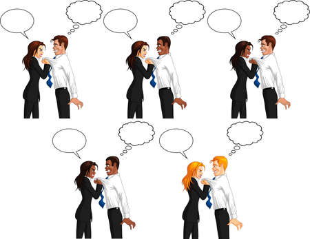 Vector illustration of a furious executive businesswoman grabbing the collar of a freaked out male employee, with speech and thought bubbles. Ilustração