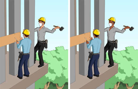 Vector illustration of two construction workers on the exterior of a modern house.