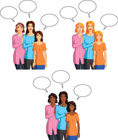 Vector illustration of a grandmother, mother and granddaughter with speech bubbles. Иллюстрация