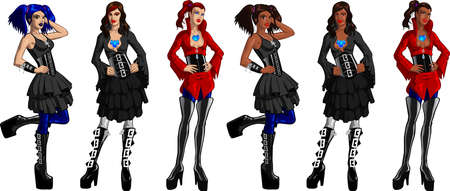 Vector clip art of sexy Gothic women. 矢量图像