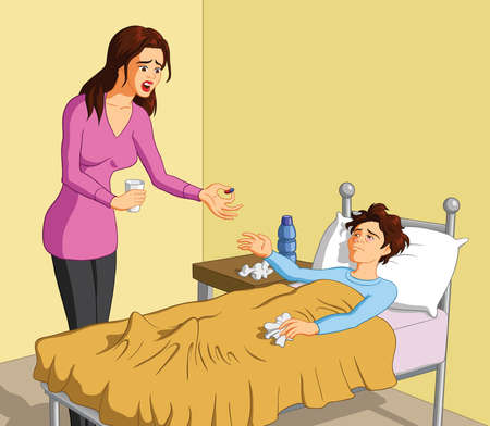 Vector illustration of a caring Caucasian mother giving pill to her sick boy.