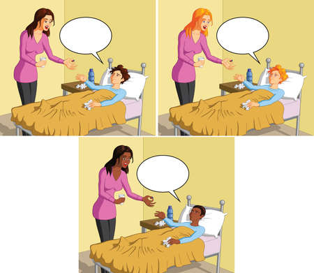 Vector illustration of a caring mother giving pill to her sick boy. Illustration