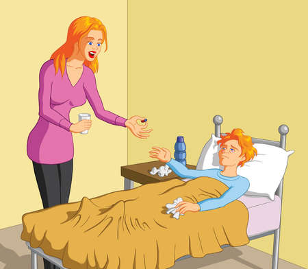 Vector illustration of a caring blonde mother giving pill to her sick boy.