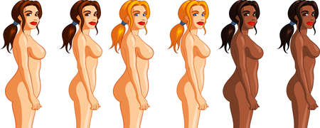 Vector illustration of a woman's weight loss process with before/after comparison.