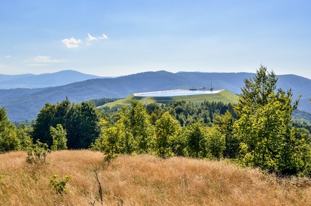 Water power plant at the top of the mountain. Summer mountain landscape in Poland.