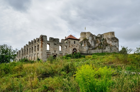 Beautiful castle ruins on the hill. Ruins of the castle on the Jurassic hill in Rabsztyn in Poland.
