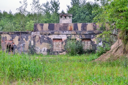 Old abandoned building. Destroyed building after a military unit.
