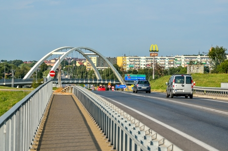 CHRZANOW, POLAND - AUGUST 19, 2017: Bridge with access road to Chrzanow in Poland.