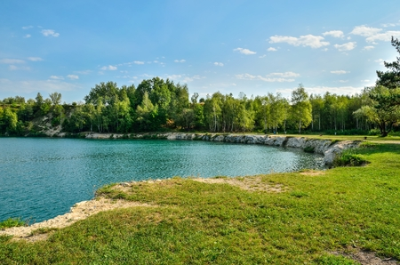 Beautiful quarry with water. Water reservoir in Trzebinia, Poland.