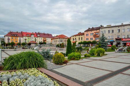 TRZEBINIA, POLAND - AUGUST 19, 2017: Colorful buildings on the market in Trzebinia, Poland.