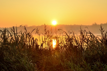 Beautiful autumn landscape. Sunrise over the lake.
