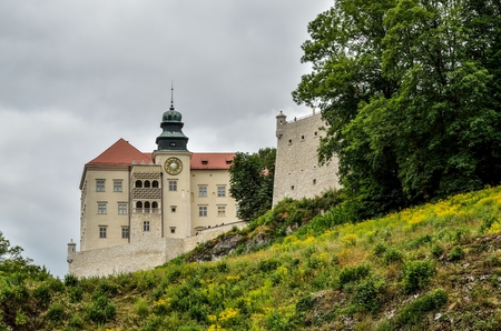 gothic revival: Beautiful historic castle. Castle in Pieskowa Skala in Poland. Editorial